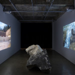 Erosion , 2017, limestone, 2 channel video projection (7 min video loop), Video collaboration: Asuka Sylvie, dimensions variable, installation view, Gertrude Glasshouse, Collingwood  VIC Australia, Photo: Matthew Stanton